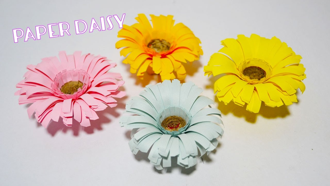 How To Make Flower Paper Daisy Paper Flower Crafts Youtube