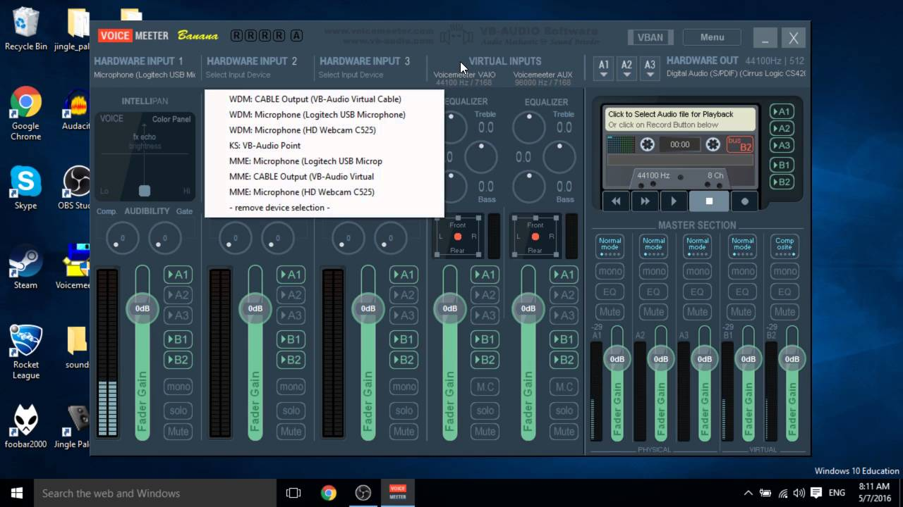 How to pipe audio into Skype with VoiceMeeter Banana