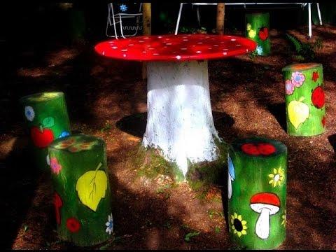 Украшения для дачи  и сада своими руками  Дачные украшения из пней