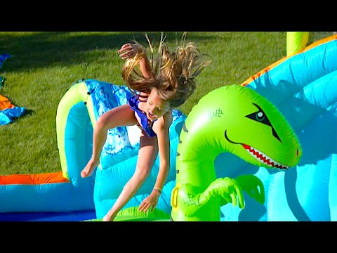DINOSAUR POOL OBSTACLE COURSE!