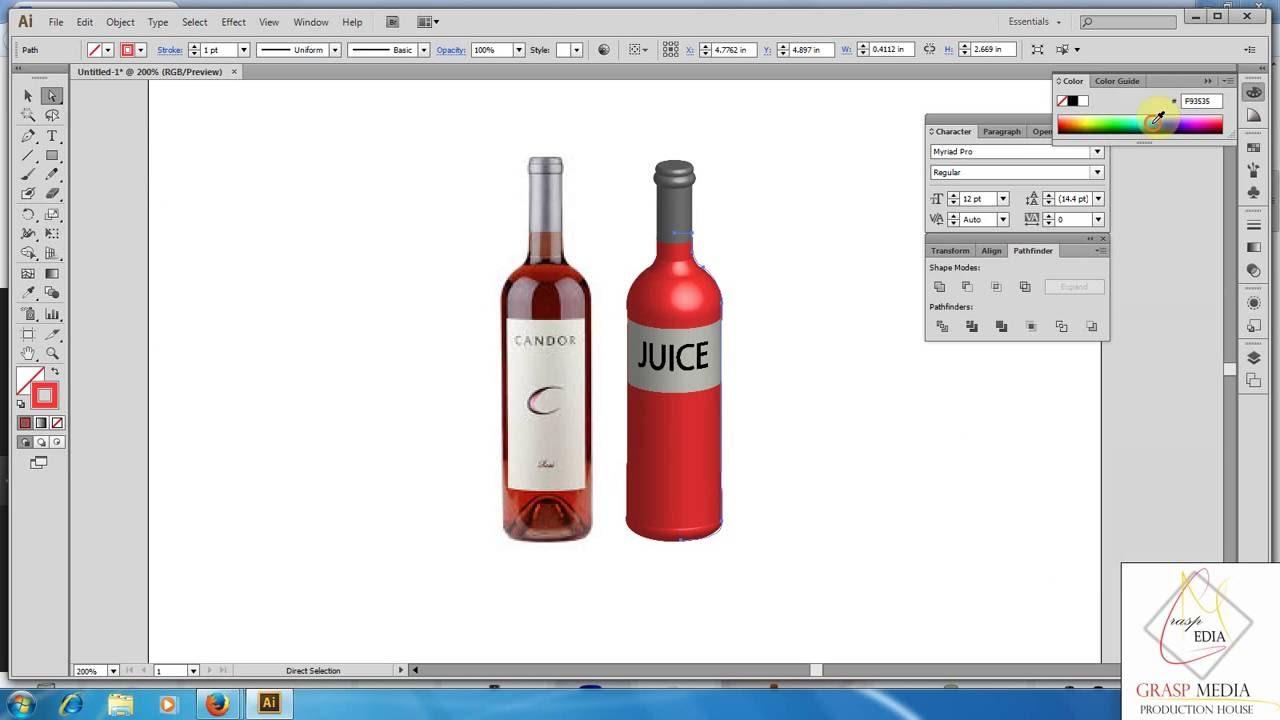 Illustrator Tutorial   Graphic Design   3D Bottle #1