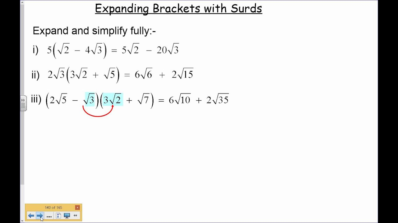 Expanding Brackets With Surds 6 Youtube