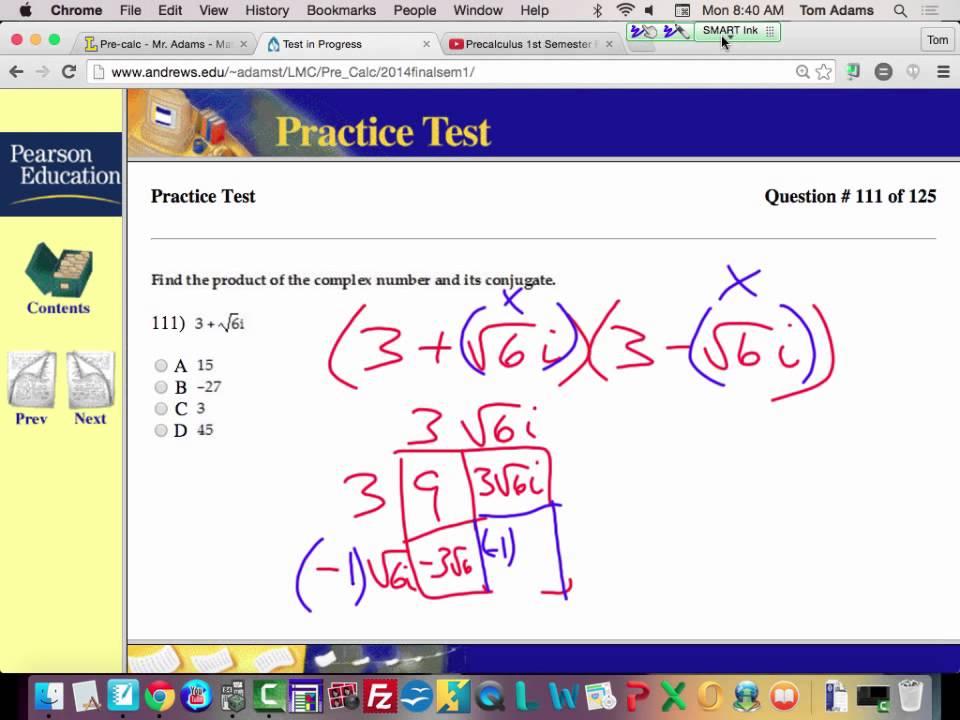 Precalculus 1st Semester Final Exam Problem 111
