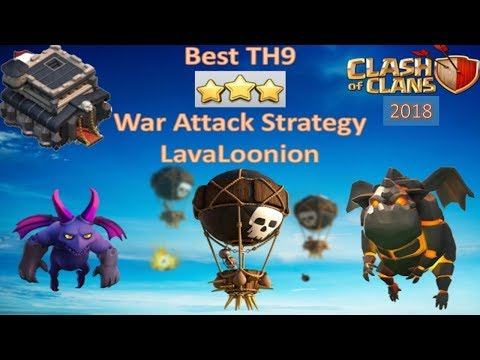 Best TH9 3 Star War Attack Strategy lavaloon ( Lava + Balloon + Minion ) Clash of Clans - 2018