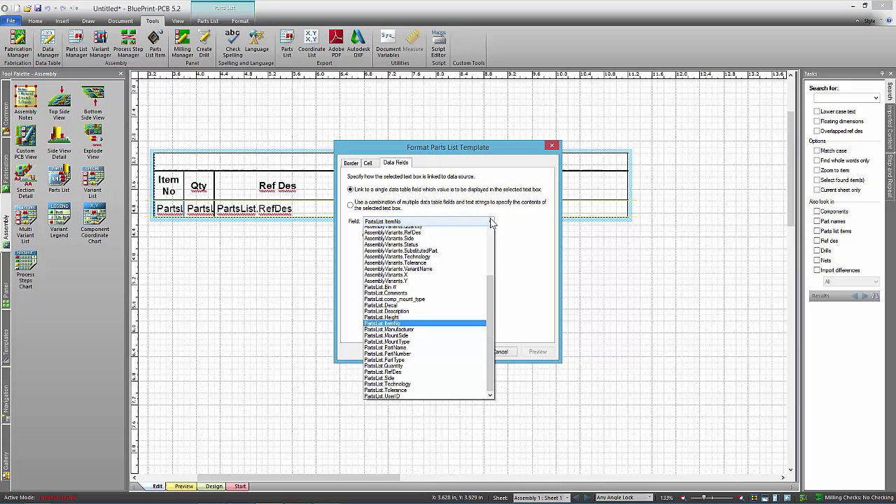 Working with parts list templates in blueprint pcb youtube working with parts list templates in blueprint pcb pronofoot35fo Images
