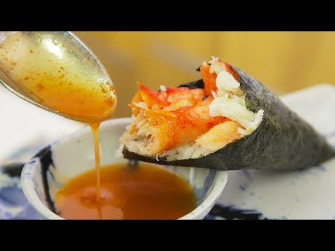 King Crab Sushi Hand Roll (Temaki) With Spicy Butter Sauce