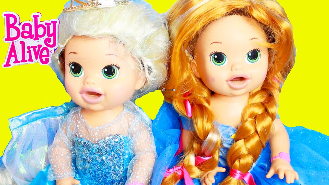 Baby Alive Makeover into Frozen Elsa & Anna Costumes - YouTube