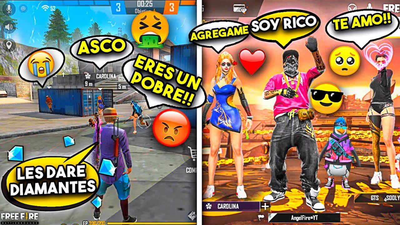 """CHICAS INTERESADAS """"me llaman MANCO por mi ROPA"""" y se LLEVAN SORPRESA!! FREE FIRE"""