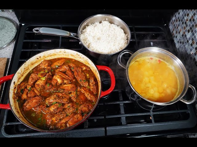 Rice, Dhal & Curry-Stew Chicken | CaribbeanPot.com