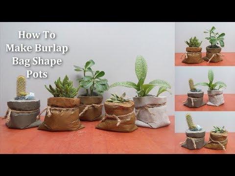 How To Make Burlap Bag Shaped pots | Burlap Bag Shaped Pot Making Easy Way // GREEN PLANTS