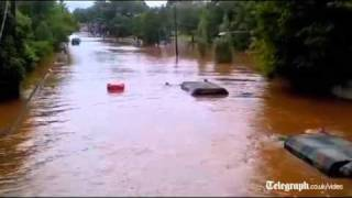 Submerged US Army truck drives through Irene flood waters thumbnail