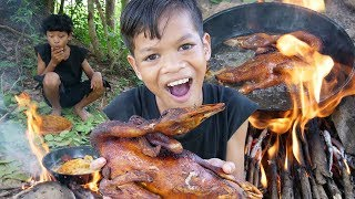 Survival Skills Primitive - Cooking duck recipe and eating delicious ep007