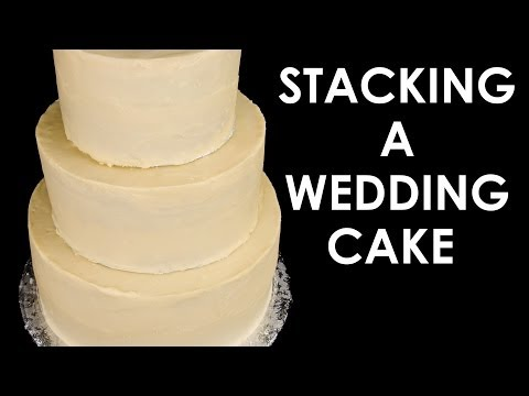 How to Make a Wedding Cake: Stacking a 3 Tier Wedding Cake (Part 2) from Cookies Cupcakes and Cardio