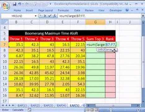 Excel Array Formula Series #5: SUM 3 Largest Values