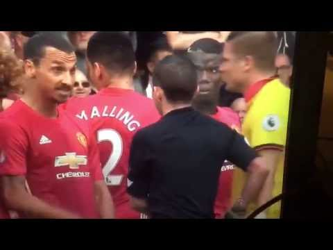 Zlatan laughing at referee Michael Oliver
