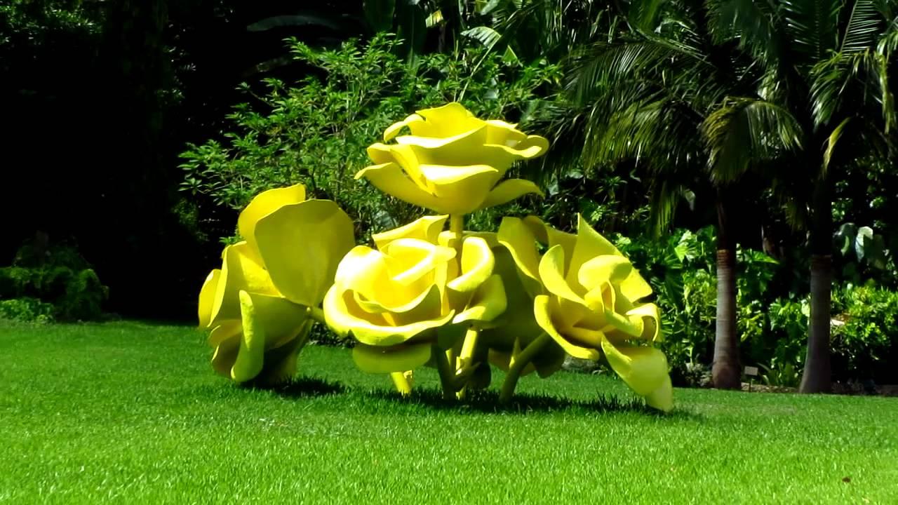 Yellow Flowers Sculpture Art Fairchild Tropical Botanic Garden