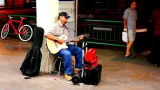 Blind Singer singing Funny Chinese Song in Singapore of Asia