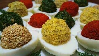 Яркая закуска к праздничному столу. Фаршированные Яйца. Stuffed eggs