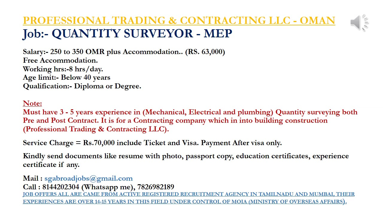 QUANTITY SURVEYOR - MEP (Mechanical, Electrical and plumbing) Quantity  surveying