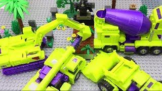 Transformers Stopmotion: Robot Devastation Excavator, truck, cranes - Vampire & Lego Skeleton Attack