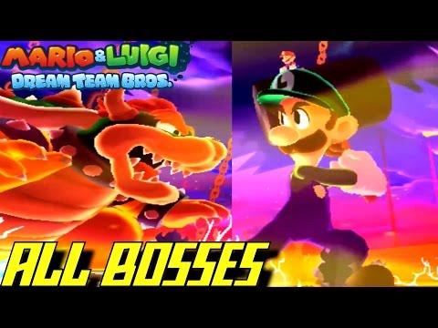 Mario & Luigi: Dream Team - All Bosses (NO...
