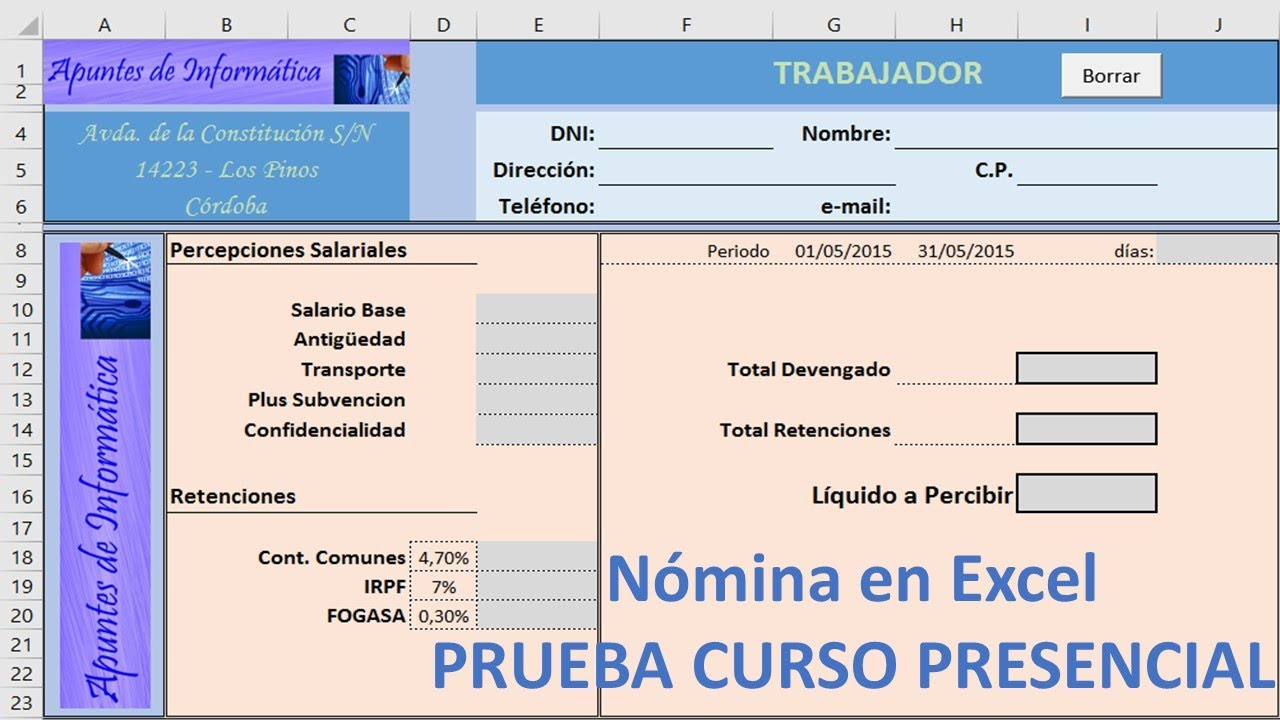 Nomina en excel prueba final youtube for Nomina en excel xls