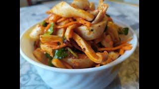 Салат с кальмарами по Корейски.