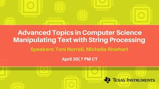Advanced Topics in Computer Science Manipulating Text with String Processing
