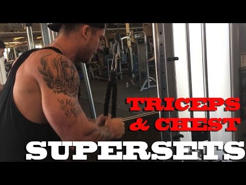 Triceps and chest SUPERSETS ft Josh Hopkins & Aaron Shumake  Muscle Beach
