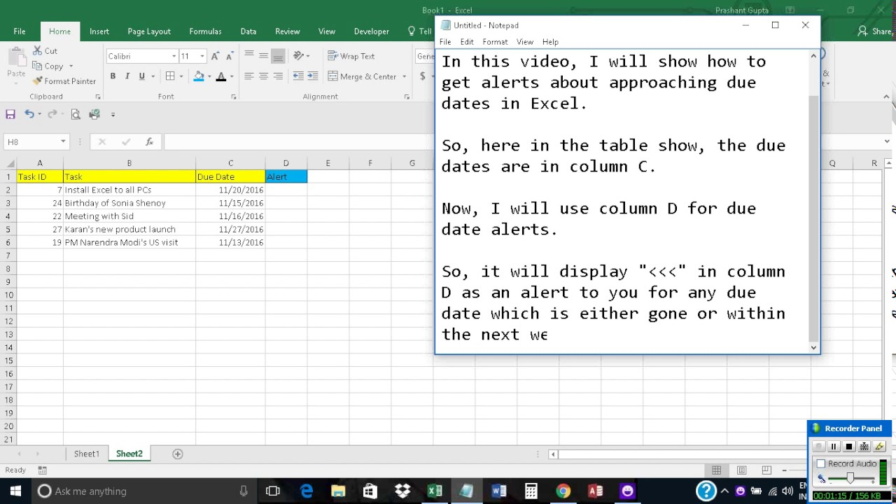 Get Alerts About Approaching Due Dates In Excel Youtube