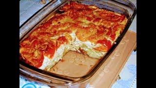 Запеченный картофель с мясом .помидорами в молочно-яичной заливке.