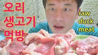 오리생고기먹방,Raw duck meat