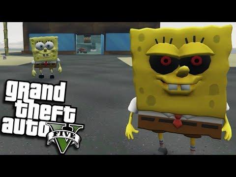 GTA 5 Mods - EVIL SPONGEBOB.EXE VS SPONGEBOB MOD (GTA 5 PC Mods Gameplay)