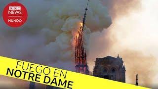 Incendio en Notre Dame: el momento en que se derrumba la aguja central en llamas
