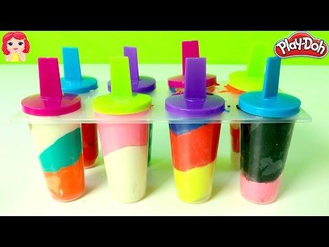 Paletas de Plastilina Play Doh |Rainbow Play Doh Popsicles