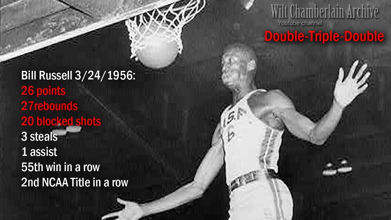 Bill Russell 26pts 27reb 20blks 3stl 1a Double-Triple ...