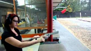 hot girl shooting a variety of revolvers for the first time 357 mag 44 mag 50 cal
