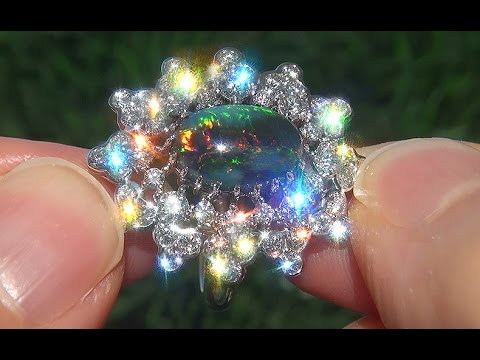 GIA Certified Natural UNTREATED Australian Black Opal Diamond 18k