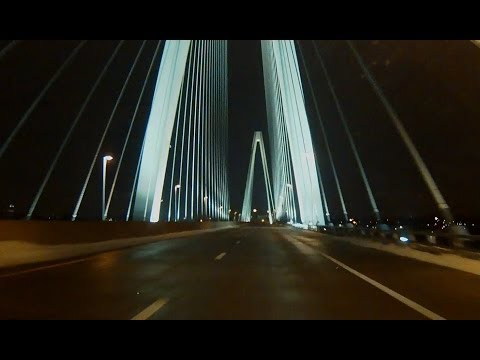 Stan Musial Veterans Memorial Bridge (I-70) night approaches & crossings, St. Louis