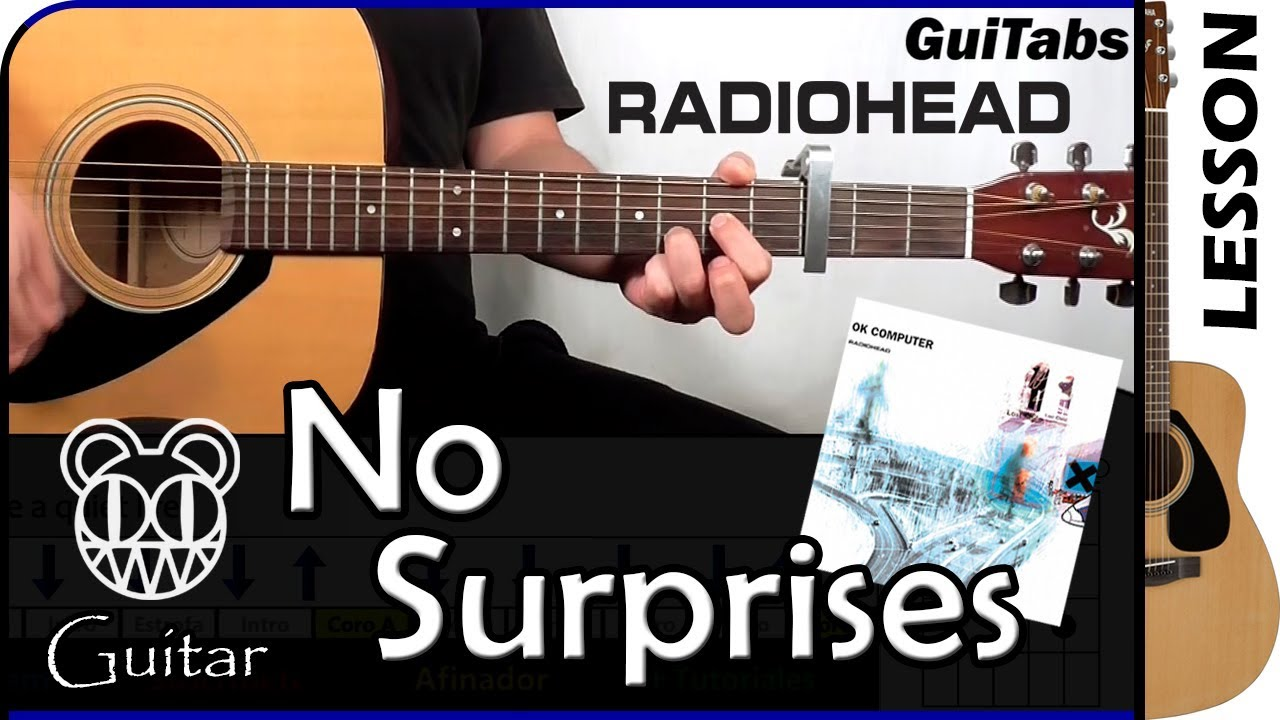 How To Play No Surprises Radiohead Guitar Lesson Guitabs 089 A Youtube