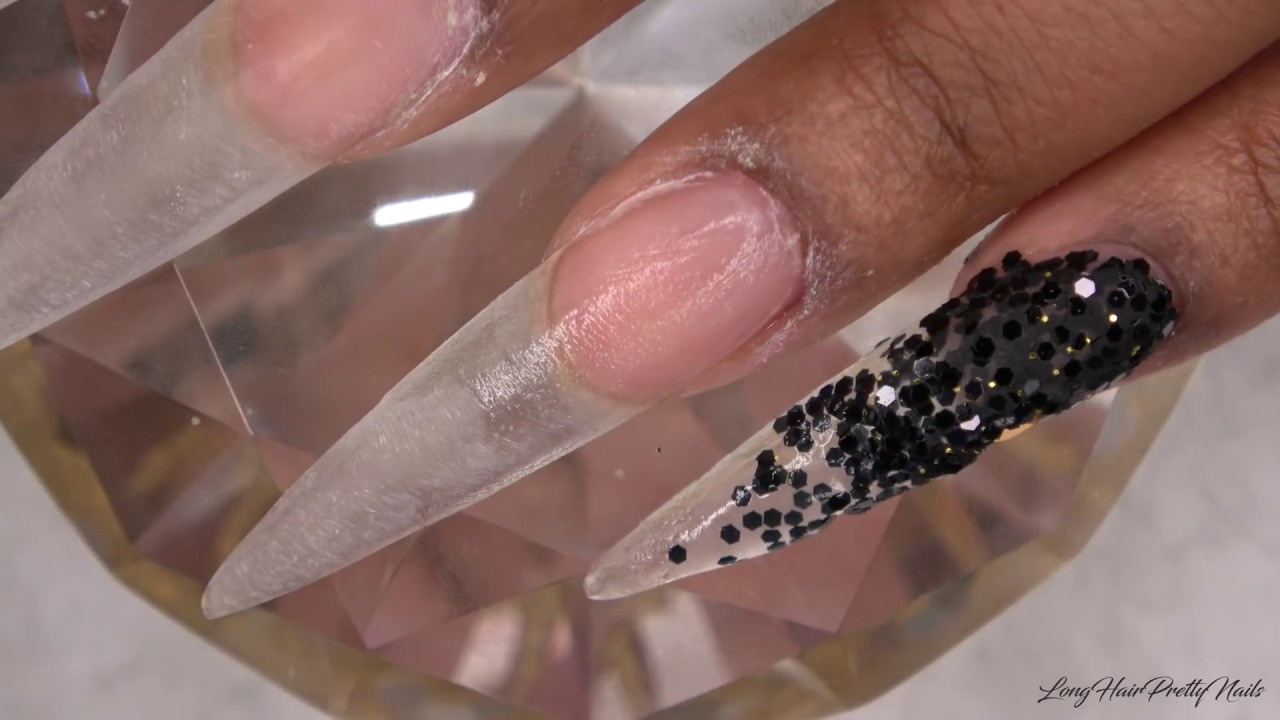 Acrylic Nails Black Lace Nails Encapsulated Real Lace - LongHairPrettyNails
