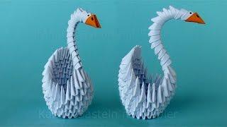 Origami Schwan falten - Basteln mit Papier - DIY Geschenkideen - Bastelideen Deko - 3D