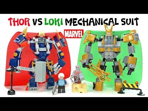 The Avengers Thor Vs Loki Mechanical Suit W/ Quicksilver & Drax Unofficial LEGO Set Kids Toys