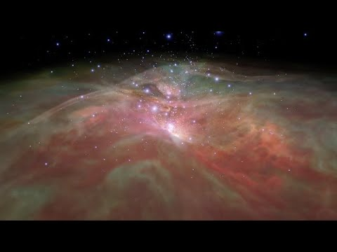 Flight through Orion Nebula in visible and infrared light (excerpt)