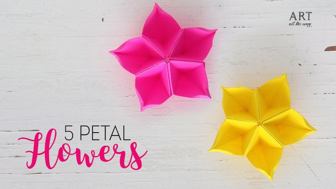 Easy Paper Flowers Petal Flower Diy Flower Youtube