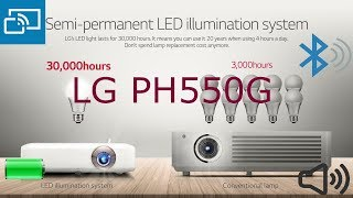 Portable LG PH550G Minibeam LED Projector with Built-In Battery, Bluetooth Sound and Screen Share
