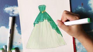 How to draw a wedding dress 26 - Vẽ Váy Cưới - An Pi TV Coloring