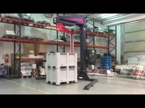 Semiauto rotary arm stretch wrapping machine