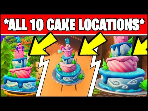 FORTNITE BIRTHDAY CAKE LOCATIONS (ALL 10 LOCATIONS) - DANCE IN FRONT OF DIFFERENT BIRTHDAY CAKES!